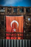 Red turkish flag; Smyrna, Turkey. Turkish flags. Istanbul the capital of Turkey royalty free stock photo