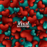 Red and turquoise heart. Valentines day card. Love romantic 3D Realistic Red Hearts Background.  Stock Images