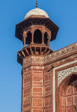 Red turret of the Great Gate, entrance to the Taj Mahal in Agra, Royalty Free Stock Photo