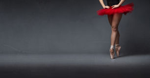Red tutu and tiptoe close up Stock Photography