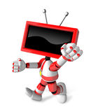 A Red TV Character and a boxing play. Create 3D Television Robot Series. Royalty Free Stock Photography
