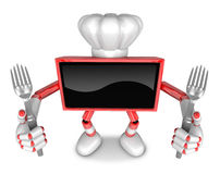 Red TV Character Chef in both hands to hold a fork. Create 3D Te Royalty Free Stock Photo