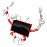 Red TV Character Cook in both hands to hold a fork. TV Character Stock Photography