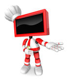Red TV character are kindly guidance. Create 3D Television Robot Stock Images