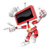 Red TV character are kindly guidance. Create 3D Television Robot Royalty Free Stock Photo