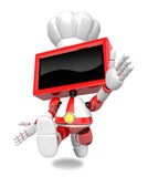 Red TV character is powerful running. Create 3D Television Robot Stock Photos