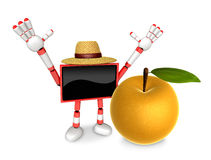Red TV character are surprised to see the big Pear.  Create 3D C Stock Image