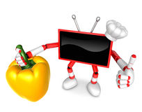 Red TV chef Character right hand sweet-pepper. The best gesture Royalty Free Stock Photo