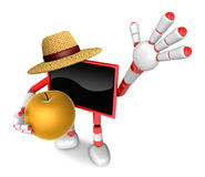 Red TV farmer mascot the right hand guides and the left hand is Royalty Free Stock Image