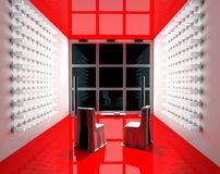 Red Tv room. Exclusive interior of inhabited and working space Stock Image