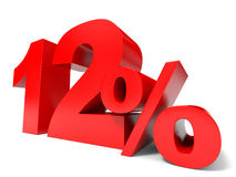 Red twelve percent off. Discount 12%. 3D illustration Stock Photo