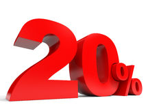 Red twenty percent off. Discount 20%. 3D illustration Stock Image