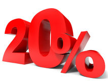 Red twenty percent off. Discount 20%. 3D illustration royalty free illustration