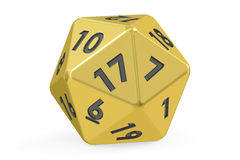 Red twenty-sided die, 20 sides. 3D rendering. On white background Stock Photography