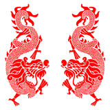 Red twins china dragon vector art design Royalty Free Stock Images