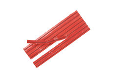 Red Twist-Ties. Close up; isolated on white background Royalty Free Stock Images