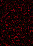 Red twisted lines with curves drops on a black background Stock Photos