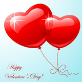 Red two balloon in shape hearts Royalty Free Stock Photo