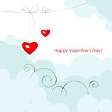 Red two hearts  on a blue sky. Royalty Free Stock Image