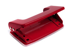 Red two hole office puncher Royalty Free Stock Images