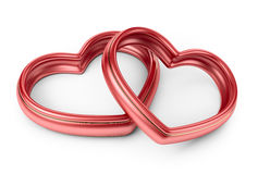 Red two love ring. 3D  Royalty Free Stock Photos