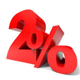 Red two percent off. Discount 2%. Royalty Free Stock Photo