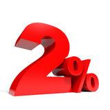 Red two percent off. Discount 2%. Royalty Free Stock Photos