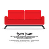 Red Two Seat Sofa Stock Photo