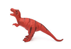 Red tyrannosaurus toy on white background Royalty Free Stock Photo