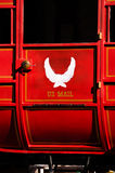 Red U.S. Mail stagecoach. Red stagecoach with U.S Mail emblem on the door Stock Photography