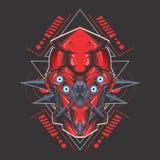 Red ugly gundam head vector illustration