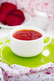 Red Ukrainian borsch soup with sour cream. Royalty Free Stock Photos