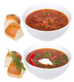 Red ukrainian russian soup borsh Royalty Free Stock Photos