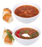 Red Ukrainian Russian Soup Borsh Royalty Free Stock Photos