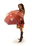 Red umbrella. Lovely girl in colorful coat with umbrella Stock Photos