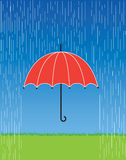 Red Umbrella. A  illustration of a bright red umbrella in a fierce rain storm Royalty Free Stock Photo