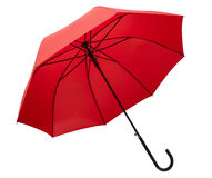 Red umbrella. A red umbrella isolated on a white background Royalty Free Stock Photography