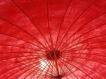 Red umbrella. The inside of a giant red paper umbrella Stock Photo