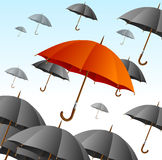 Red Umbrella on Black Fly High. Vector Royalty Free Stock Photo
