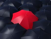 Red umbrella and blacks umbrellas. Royalty Free Stock Photography