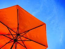 Red Umbrella and Blue Sky Royalty Free Stock Images