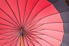 Red umbrella. Bright red opened umbrella - close Stock Photos