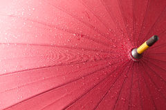 Red umbrella. Bright red opened umbrella. Wet with rainy drops Royalty Free Stock Photos