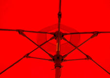 Red Umbrella. A close up of the interior of a large red table umbrella Royalty Free Stock Photos