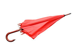 Red umbrella closed isolated Royalty Free Stock Photo