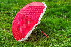 Red umbrella on the green grass Royalty Free Stock Images