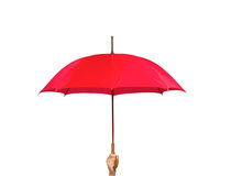 Red umbrella in hand isolated on white Royalty Free Stock Photos