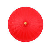 Red umbrella handmade on white background , clipping path Royalty Free Stock Photo