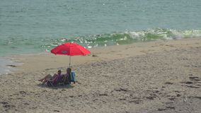 Red umbrella on Ho Hum beach on Fire Island. A view of Ho Hum beach on Fire Island on a gorgeous sunny day stock video footage