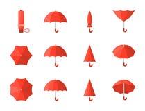 Red umbrella icon set stock illustration